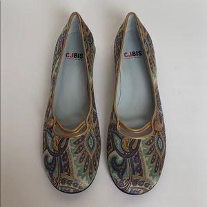 CJBIS CHARLES JOURDAN Velvet Paisley Shoes